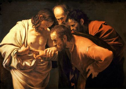 Caravaggio, Michelangelo Merisi da: The Incredulity of Saint Thomas. Fine Art Print/Poster. Sizes: A4/A3/A2/A1 (002062)